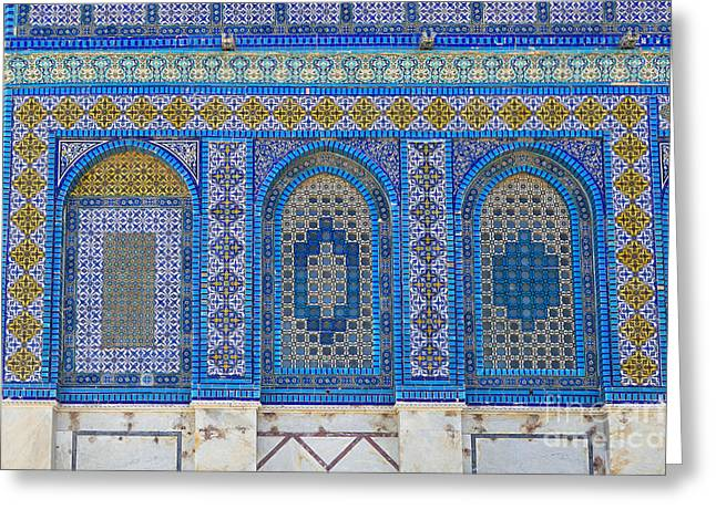 Recently Sold -  - Byzantine Greeting Cards - Windows of the Dome of the rock Greeting Card by Roberto Morgenthaler