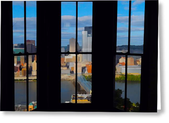 Incline Digital Greeting Cards - Windows on Pittsburgh Greeting Card by Robert Paine