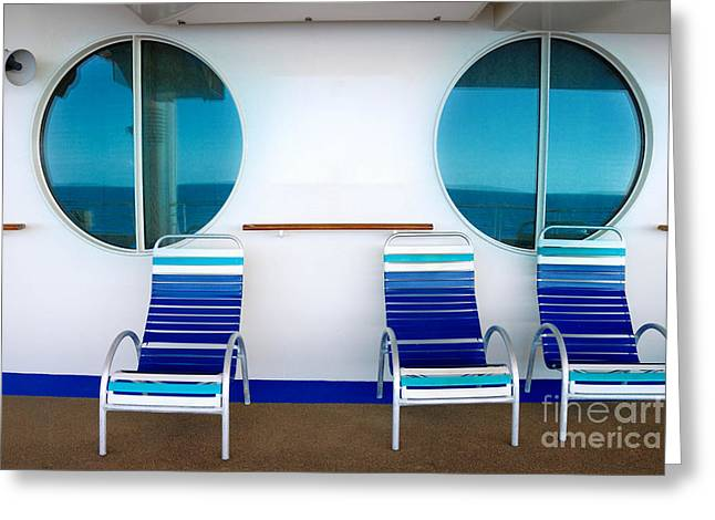 Cruise Vacation Greeting Cards - Windows Reflecting the Sea Greeting Card by Amy Cicconi