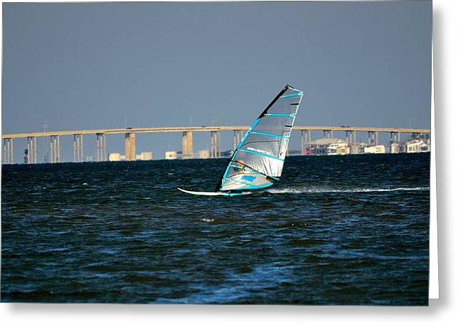 Wind Surfing Print Greeting Cards - Windsailing by JFK Causeway Greeting Card by Kristina Deane