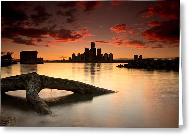 Long Exposure Greeting Cards - Windsor and Detroit Sunset Greeting Card by Cale Best