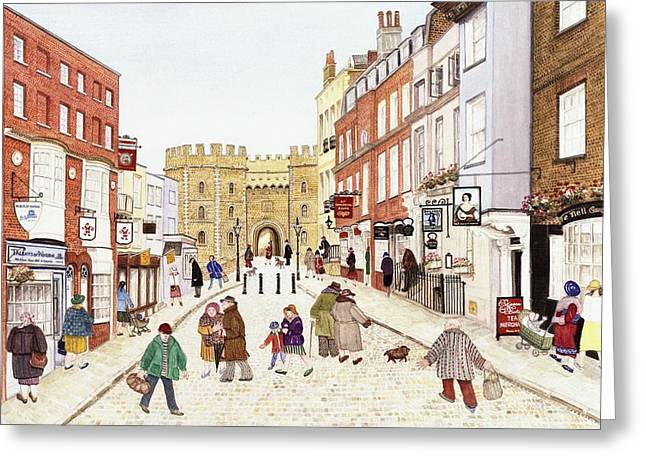 Shop Window Greeting Cards - Windsor Castle, 1989 Watercolour On Paper Greeting Card by Gillian Lawson
