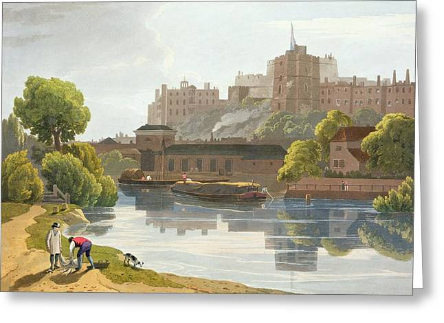 Barge Greeting Cards - Windsor Castle, From A Compilation Greeting Card by William Daniell