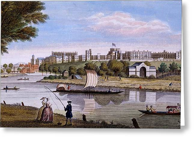 Fishing Boats Drawings Greeting Cards - Windsor Castle From Across The Thames Greeting Card by English School