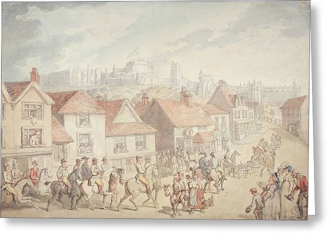 Street Scenes Greeting Cards - Windsor Castle From Eton Town, 1800 Greeting Card by Thomas Rowlandson