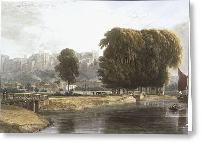 River View Greeting Cards - Windsor Castle From The Brocas Meadow Greeting Card by William Daniell