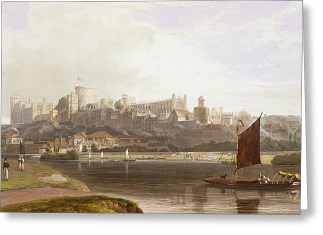 Sailing Drawings Greeting Cards - Windsor Castle From The River Meadow Greeting Card by William Daniell
