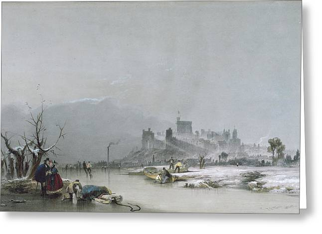 Frozen River Greeting Cards - Windsor Castle From The Thames, 19th Century Greeting Card by James Baker Pyne