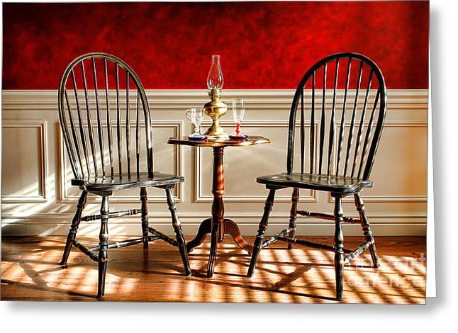 Wall Table Greeting Cards - Windsor Chairs Greeting Card by Olivier Le Queinec