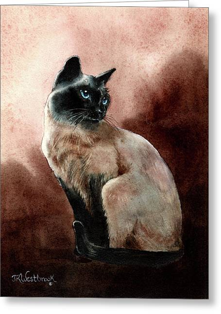 Siamese Cat Print Greeting Cards - Windsor Greeting Card by Jill Westbrook