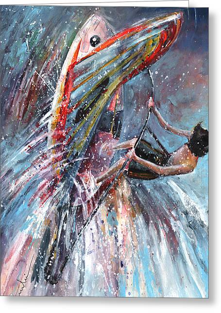 Wind Surfing Art Paintings Greeting Cards - Windsurf 03 Greeting Card by Miki De Goodaboom