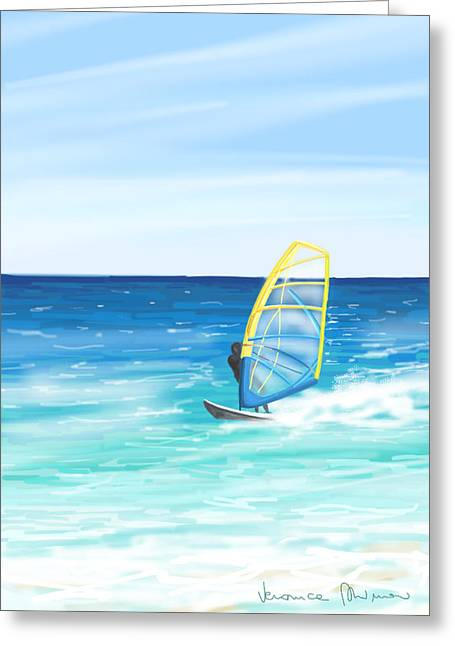 Wave Greeting Card featuring the painting Windsurf by Veronica Minozzi