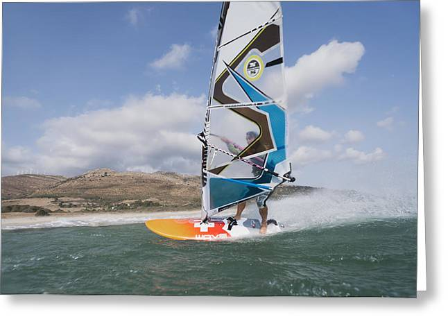 Swimsuits Swimming Costumes Greeting Cards - Windsurfer Along The Coast Tarifa Cadiz Greeting Card by Ben Welsh