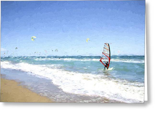 Boardsailing Greeting Cards - Windsurfer at sea Greeting Card by Perry Van Munster