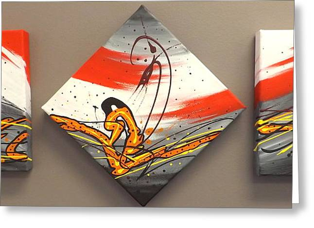 Windsurfer Greeting Cards - Windsurfer Triptych Greeting Card by Darren Robinson