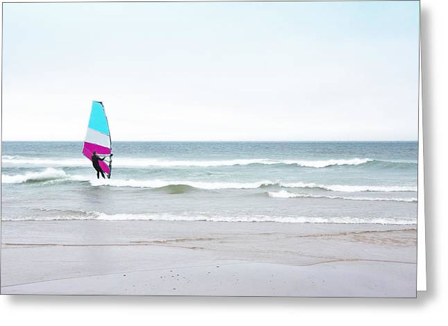 Blue Greeting Cards - Windsurfer with Pink and Aqua Greeting Card by Brooke Ryan