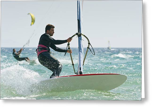 Sailboarding Greeting Cards - Windsurfers In The Water Off Punta Greeting Card by Ben Welsh