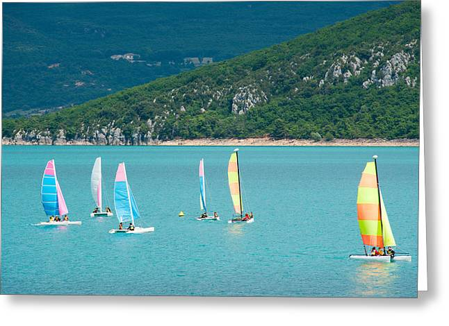 Croix Greeting Cards - Windsurfers On The Lake, Lac De Sainte Greeting Card by Panoramic Images