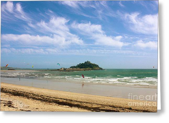 Terri Waters Greeting Cards - Windsurfing Around St Michaels Mount Greeting Card by Terri  Waters