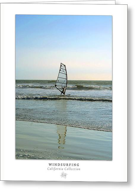 Beach Decor Posters Greeting Cards - Windsurfing Art Poster - California Collection Greeting Card by Ben and Raisa Gertsberg
