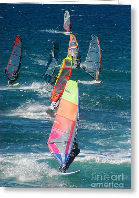 Maui Greeting Cards - Windsurfing at Hookipa Greeting Card by Andy Jackson