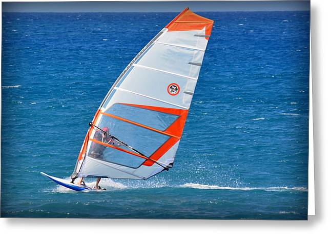 Windsurfer Greeting Cards - Windsurfing at Kiholo Greeting Card by Lori Seaman
