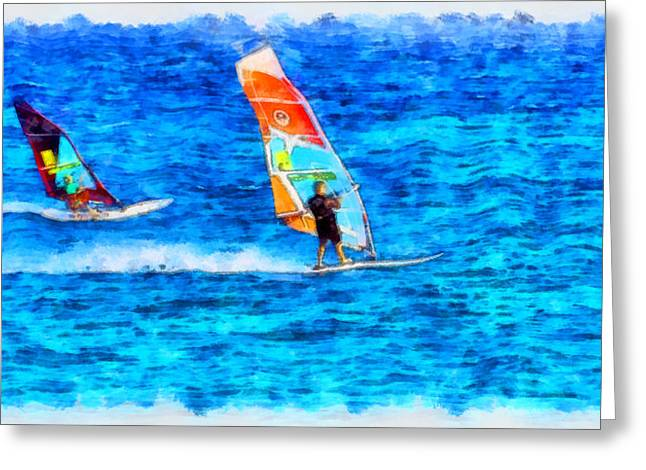 G.rossidis Greeting Cards - Windsurfing Greeting Card by George Rossidis