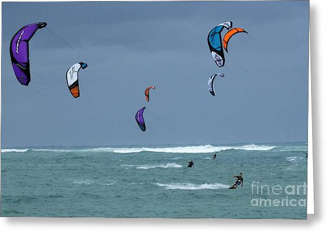 Surfing Photos Greeting Cards - Windsurfing Hawaii Greeting Card by Bob Christopher
