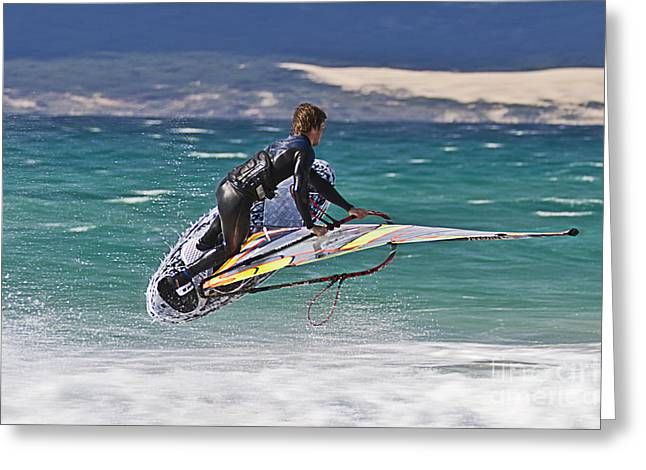 Leisure Time Greeting Cards - Windsurfing Greeting Card by Heiko Koehrer-Wagner