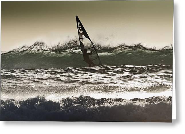 Tarifa Greeting Cards - Windsurfing Los Lances Beach, Tarifa Greeting Card by Ben Welsh