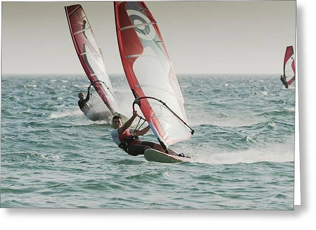 Windsurfing Tarifa Cadiz Andalusia Spain Greeting Card by Ben Welsh