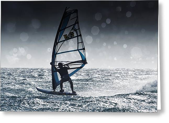 Surf Silhouette Greeting Cards - Windsurfing With Water Drops On Camera Greeting Card by Ben Welsh