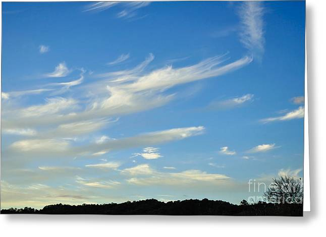 Clouds In Motion Greeting Cards - Windswept 3 - Wispy Clouds Greeting Card by Kaye Menner