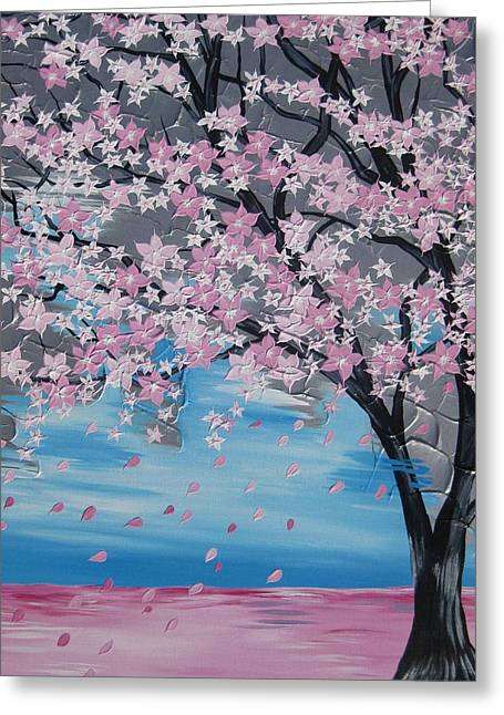 Windswept Paintings Greeting Cards - Windswept Blossoms Greeting Card by Cathy Jacobs