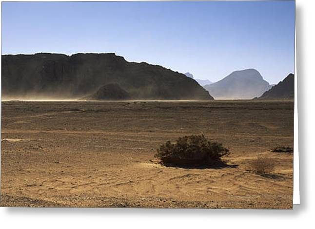 Jordan Hill Greeting Cards - Windswept Desert, Wadi Rum, Jordan Greeting Card by Panoramic Images