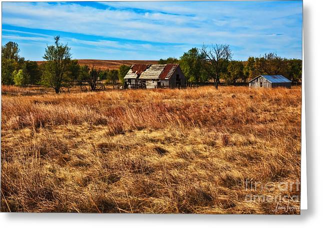 Outbuildings Digital Art Greeting Cards - Windswept Prairie Barn Greeting Card by Anna Surface