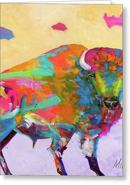 Buffalo Greeting Cards - Windswept Greeting Card by Tracy Miller