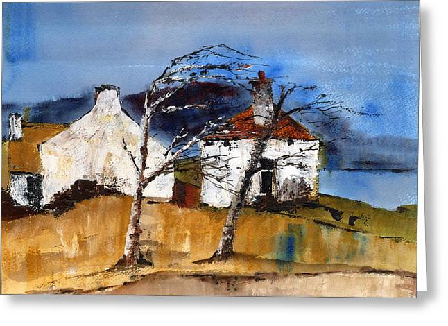 Windswept Paintings Greeting Cards - Windswept  Greeting Card by Val Byrne