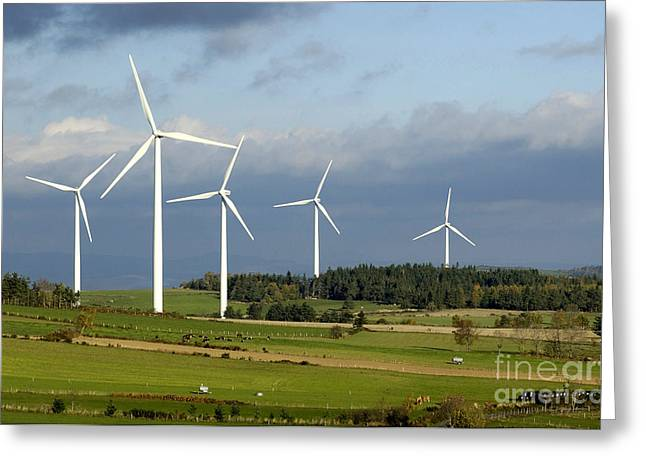 Eco Friendly Greeting Cards - Windturbines Greeting Card by Bernard Jaubert