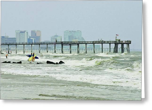 Surf City Greeting Cards - Windy Beach  Greeting Card by Daniel Myers
