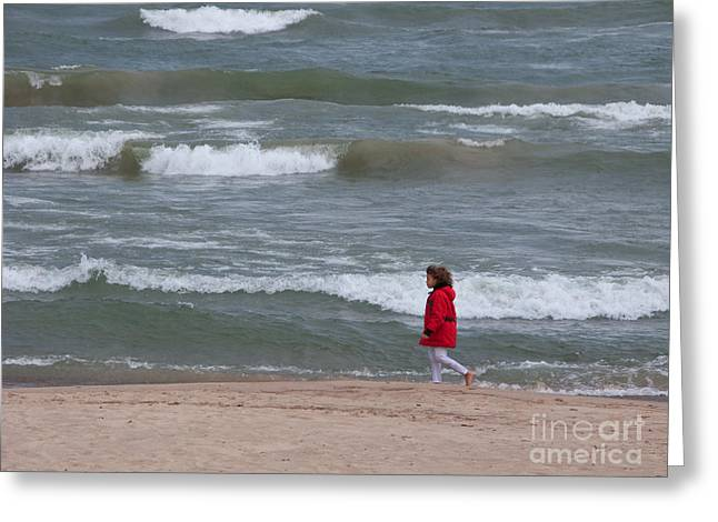 Indiana Dunes Greeting Cards - Windy Beach Walk Greeting Card by Ann Horn
