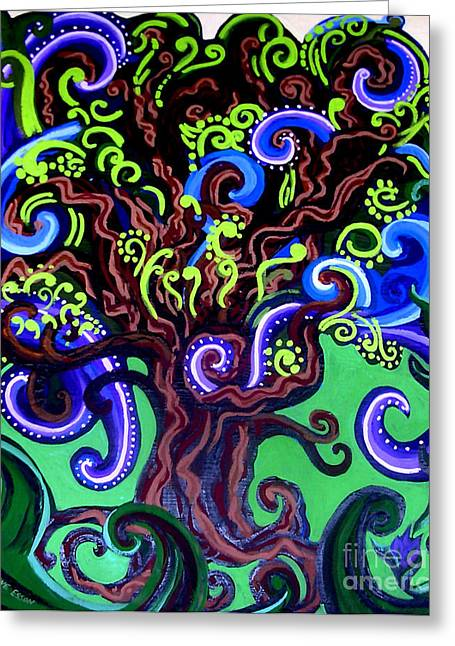 Acrylic On Stretched Canvas Greeting Cards - Windy Blue Green Tree Greeting Card by Genevieve Esson