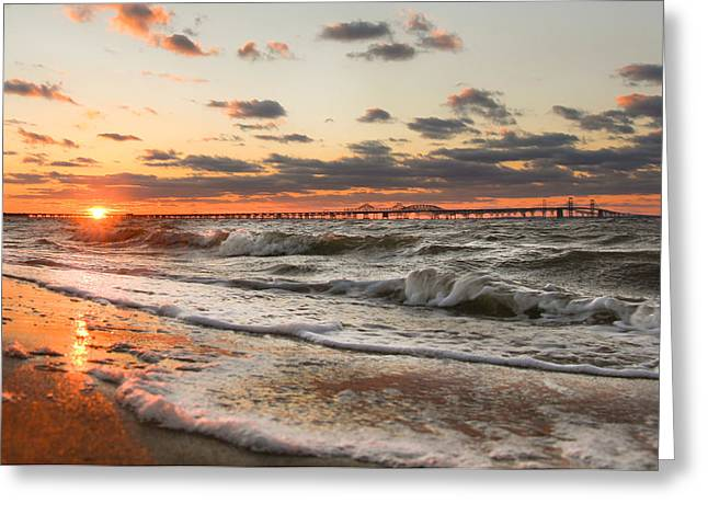 Chesapeake Bay Bridge Greeting Cards - Windy Chesapeake Bay Bridge Sunset Greeting Card by Mark  Dignen