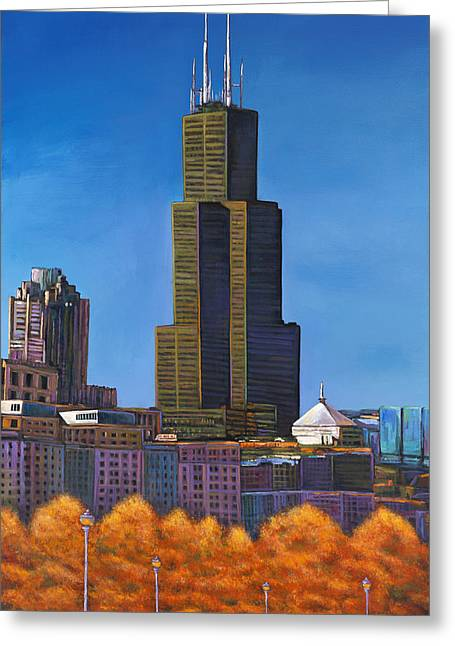 Chicago Skyline Art Greeting Cards - Windy City Autumn Greeting Card by Johnathan Harris