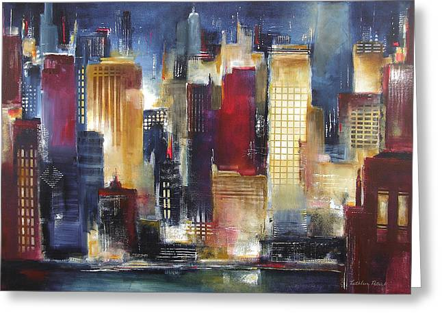 Skyline Paintings Greeting Cards - Windy City Nights Greeting Card by Kathleen Patrick