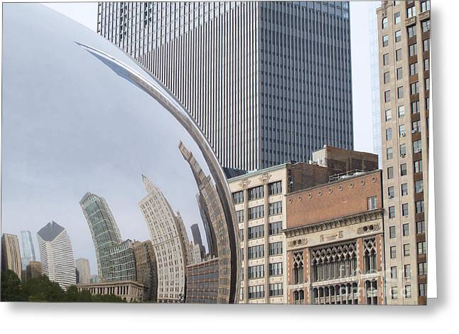 The Bean Greeting Cards - Windy City Reflected Greeting Card by Ann Horn