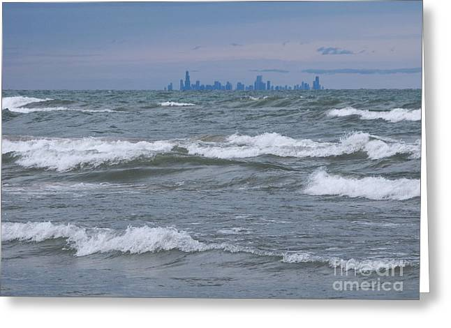 Indiana Dunes Greeting Cards - Windy City Skyline Greeting Card by Ann Horn