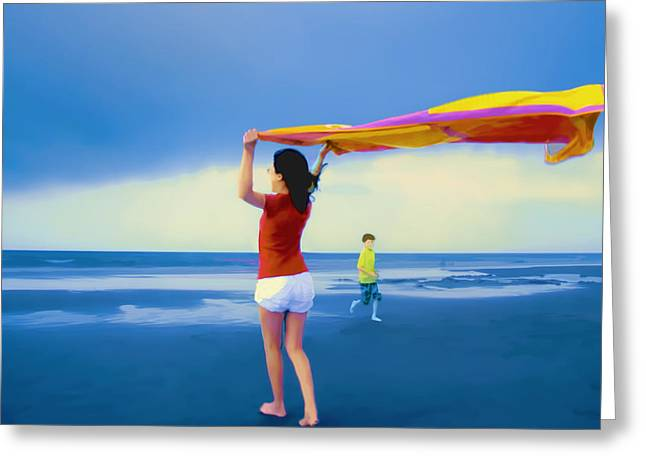 Beach Towel Greeting Cards - Children Playing on the Beach Greeting Card by Vizual Studio