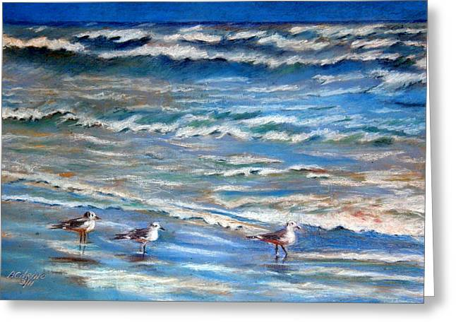 Windy Pastels Greeting Cards - Windy Day at the Gulf    Pastel    Greeting Card by Antonia Citrino