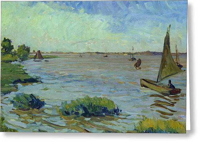 Blue Sailboat Greeting Cards - Windy Day on the Elbe Greeting Card by Richard Dreher